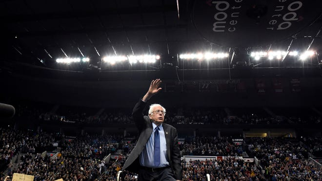 Democratic presidential candidate Bernie Sanders, I-Vt., arrives for a rally at the Moda Center in Portland, Ore., Friday, March 25 , 2016.