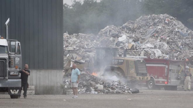 Firefighters responded to a blaze at Aggregate Recycling Corporation off Route 236 in Eliot, Maine, Wednesday morning.
