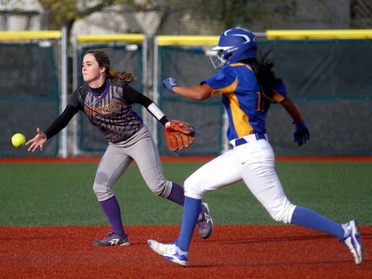 Bloomfield's Brandi Alcantar races to second base while