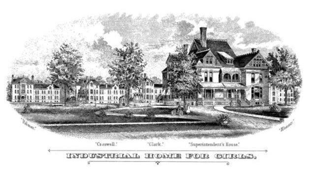 An artists rendition of the State Industrial School for Girls, showing the Superintendent's house and three of the cottages in which the girls lived, is pictured. The rendering of the photo was completed for the Seventh Biennial Report of the State Industrial Home for Girls for the years 1891-92.