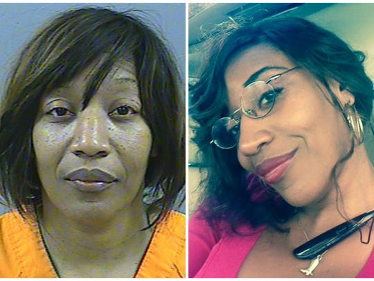 Angela Brown's mug shot from the Madison County jail, left, and a selfie released by Central Mississippi CrimeStoppers