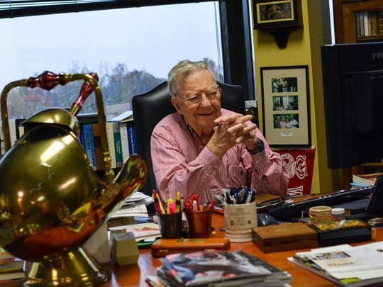Hilliard at his desk at Badger Oil Corp. in Lafayette.