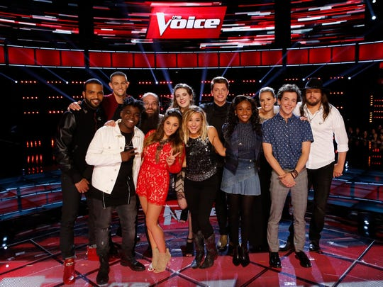 "The Top 12 of Season 10 ""The Voice"" are (l-r) Bryan Bautista, Nick Hagelin, Paxton Ingram, Laith Al-Saadi, Alisan Porter, Emily Keener, Mary Sarah, Daniel Passino, Shalyah Fearing, Hannah Huston, Owen Danoff and Adam Wakefield."