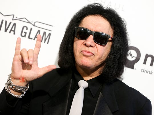 Gene Simmons arrives at the 2016 Elton John AIDS Foundation Oscar viewing party.