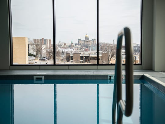 The swimming pool inside the Hilton Des Moines Downtown