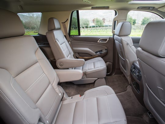 Inside the 2015 GMC Yukon Denali, upscale details include