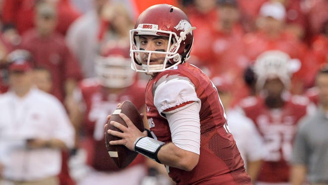 Shown in this Sept. 28, 2013, file photo, the car of Arkansas quarterback Brandon Allen was set on fire early Monday morning.