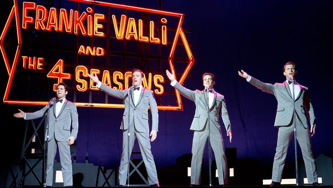 """From left, John Lloyd Young as Frankie Valli, Erich Bergen as Bob Gaudio, Vincent Piazza as Tommy DeVito and Michael Lomenda as Nick Massi in """"Jersey Boys."""""""