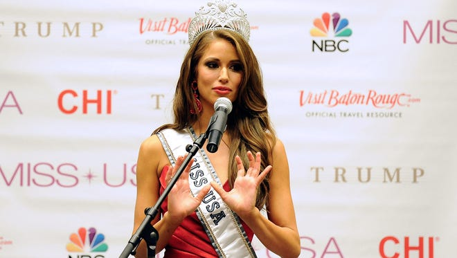 Miss USA 2014 Nia Sanchez addresses the media in the 2014 Miss USA Competition press conference at The Baton Rouge River Center on June 8, 2014, in Baton Rouge, La.