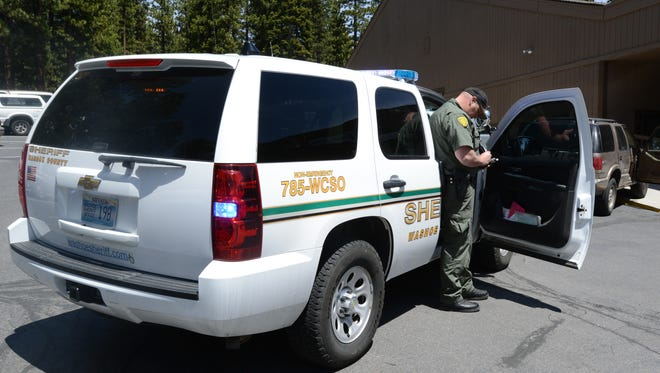 Washoe County sheriff's deputy Paul Longstore makes a traffic stop in Incline Village on Friday May 9, 2014