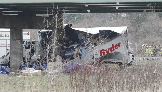 A Ryder truck traveling on I-490 slammed into bridge supports underneath Buffalo Road on Saturday.