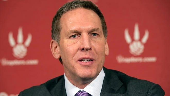 Former Raptors general manager Bryan Colangelo speaks at a news conference April 22, 2013.