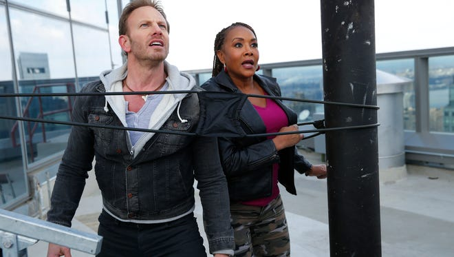 Ian Ziering is Fin Shepard and Vivica A. Fox is Skye in 'Sharknado 2: The Second One.'