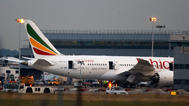 An Ethiopian Airlines Boeing 787 Dreamliner caught on fire while parked and empty at London's Heathrow Airport on July 12.