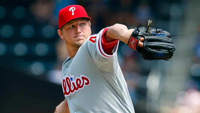 NEW YORK, NY - AUGUST 29:  Pitcher Ethan Martin #49 of the Philadelphia Phillies delivers a pitch against the New York Mets on August 29, 2013 at Citi Field in the Flushing neighborhood of the Queens borough of New York City. (Photo by Rich Schultz/Getty Images)