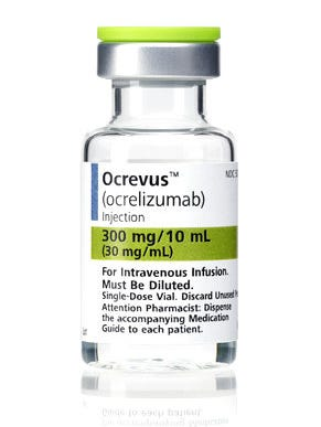 This photo provided by Genentech shows the company's drug Ocrevus. Late Tuesday, March 28, 2017, the Food and Drug Administration approved Ocrevus, the first drug for an aggressive kind of multiple sclerosis that steadily reduces coordination and the ability to walk. While there are more than a dozen treatments for the most common form of MS, there's been nothing specifically for people with the type called primary progressive MS. That type of MS is relatively rare, affecting about 50,000 Americans. Ocrevus was also approved for relapsing forms of MS, which progress more slowly.