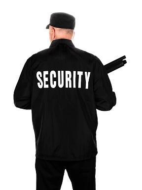 Security guard with shotgun