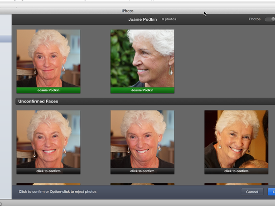 The Faces feature in Apple's iPhoto software helps
