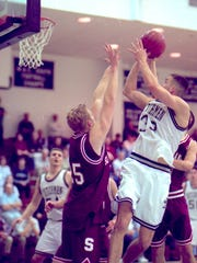 Former Lebanon Valley star Andy Panko rises up for a shot during a game in his 1998 junior season. Panko, now 38, will play at least one more year professionally.