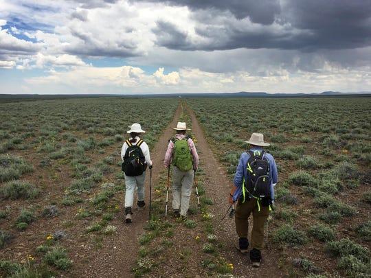 Alice Elshoff, Helen Harbin and Julie Weikel hike across the Sheldon National Wildlife Refuge in Northern Nevada.