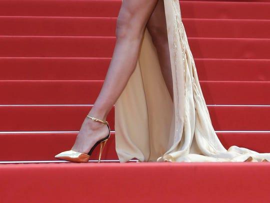 A detail shot of Irina Shayk's shoes at the gala screening