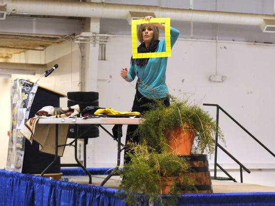 Shirley Long talks about making quilts from T-shirts during the 17th annual Town and Country Women's Fair in 2015.