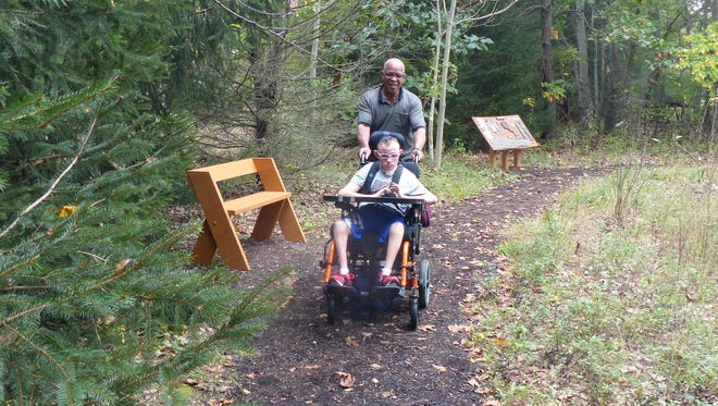 A wheelchair-accessible nature trail for Academy Learning Center (ALC) students has been completed courtesy of Greg Braun, a Monroe High School junior.