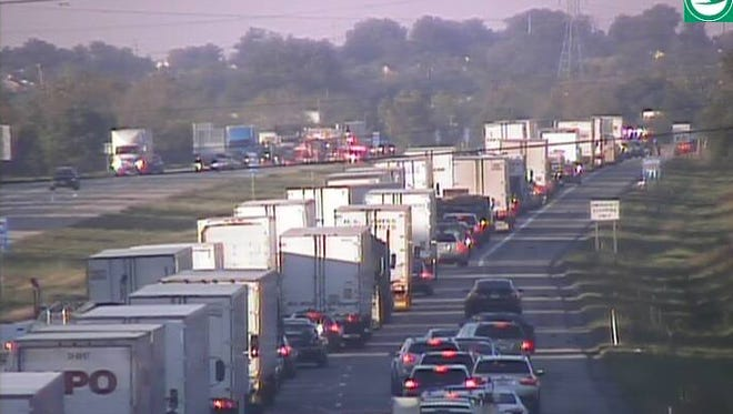 Traffic is stopped on SB I-71 near Kings Mills Road after an 8 a.m. crash