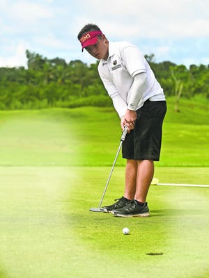 In this file photo, Father Duenas golf competitor Brentt Salas competes during the Independent Interscholastic Athletic Association of Guam Golf League All-Island tournament at the Guam International Country Club in Dededo on Oct. 3.