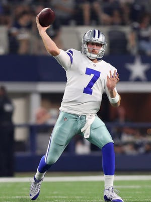Cowboys quarterback Cooper Rush passes in an exhibition game at AT&T Stadium on Aug. 26, 2017 in Arlington, Texas.