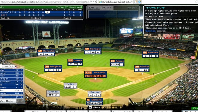 A screenshot of Chase Utley's pinch-hit two-run homer that helped the Dodgers defeat the Astros in Game 5 of USA TODAY Sports' Simulated World Series.