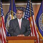 House Speaker John Boehner, of Ohio, speaks during a news conference on Capitol Hill in Washington on Friday. Boehner informed fellow Republicans on Friday that he would resign from Congress at the end of October, stepping aside in the face of hardline conservative opposition that threatened an institutional crisis.