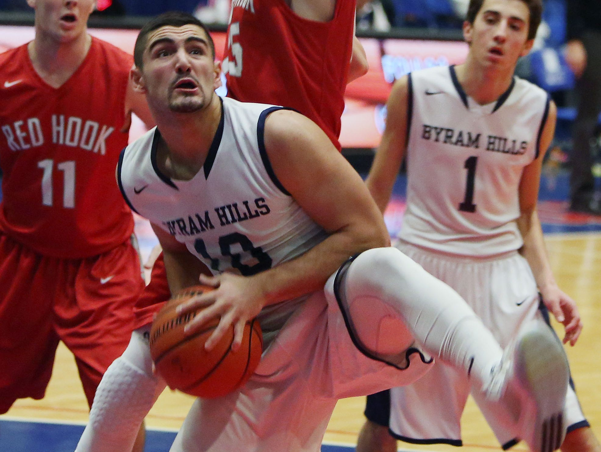 Byram Hills' Louis Filippelli (10) drives to the basket against Red Hook during the boys Class A basketball playoff game at the Westchester County Center in White Plains March. 1, 2016.