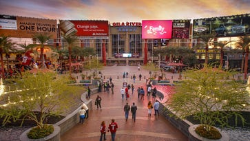 Gila River Arena, home to the Arizona Coyotes, is part of the Westgate Entertainment District in Glendale. The Coyotes want out of the arena and hope to build a new home at least partly financed by public funds.