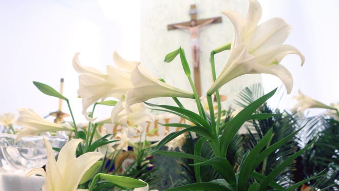 Lilies decorate the altar at Christus Spohn Hospital Shoreline for Easter on Saturday, April 15, 2017, in Corpus Christi.