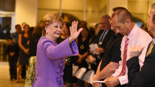 Congresswoman Madeleine Z. Bordallo waves to guests of her swearing-in ceremony as Guam Delegate to the U.S. Congress at the Latte of Freedom - Hall of Governors in Adelup on Jan. 23, 2017.