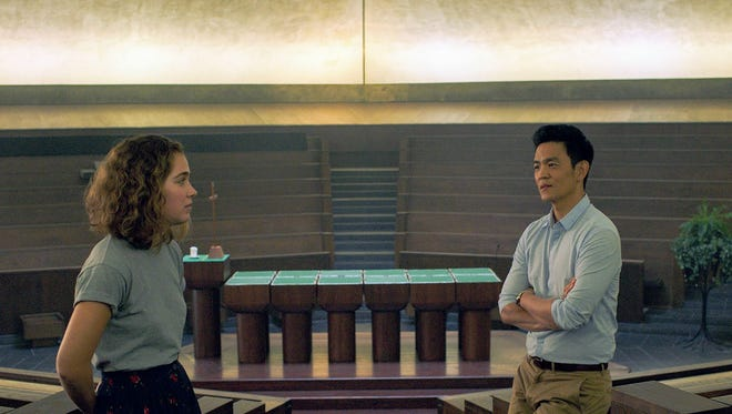 "Haley Lu Richardson, left, and John Cho chat inside North Christian Church in the film ""Columbus."""