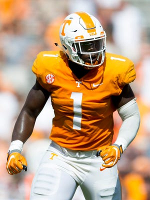 Tennessee defensive lineman Jonathan Kongbo (1) reacts to a play during the Tennessee Volunteers vs. UMass Minutemen game at Neyland Stadium in Knoxville, Tennessee on Saturday, September 23, 2017.