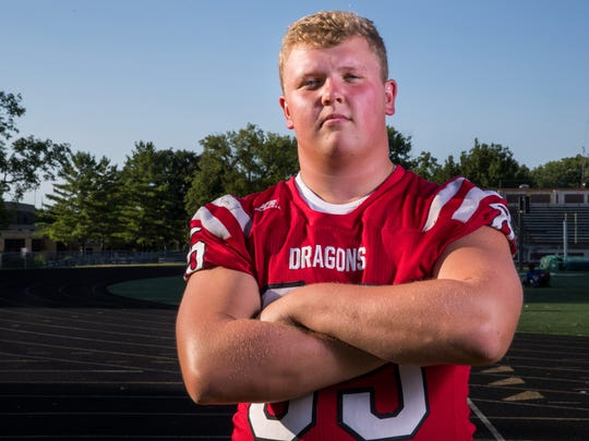 Austin Keele, lineman, New Palestine High School, part of the IndyStar Super Team for football.