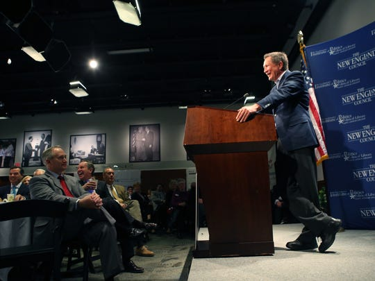 Gov. John Kasich addresses a crowd at a New Hampshire campaign event in March 2015. Senate President Keith Faber, R-Celina, (red tie), helped Kasich campaign for president.