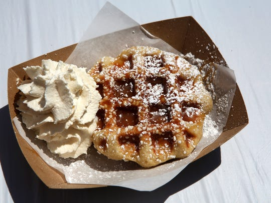 Marty's original waffle with sea salt, caramel drizzle and homemade Maker's Mark bourbon whipped cream