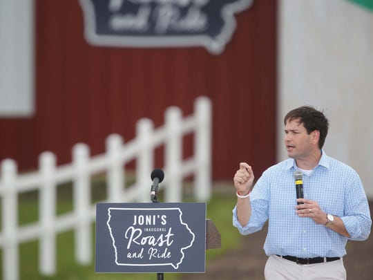 Florida U.S. Sen. Marco Rubio speaks to the crowd at the first ever Roast and Ride, a fundraiser for Iowa senator Joni Ernst, on Saturday, June 6, 2015, at the Central Iowa Expo grounds in Boone.