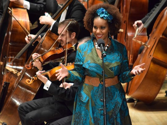"Poet JaHipster, a.k.a. Tonya Maria Matthews, performs during ""Symphony in the D"" on Nov. 21 at Orchestra Hall."