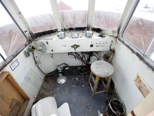 The pilot house of the former Rose Lummis, soon to be re-christened the River Tyme,  January 22, 2016 in South Bay Marina. The ship is scheduled to begin Fox River and bay cruises around May of 2016. The owners are refitting the 55 foot long boat to fill the void left when the Foxy Lady left Green Bay.
