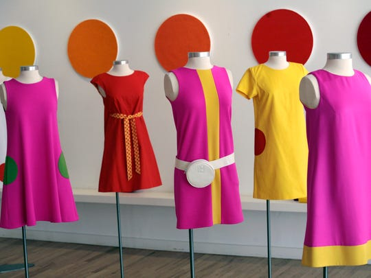 Designer Lisa  Perry designs are seen at her studio in the SoHo neighborhood of New York in 2008. The message from the fashion world isn't just to wear color, it's to wear several colors at once. One trend is colorblocking, putting chunks of color all over your outfit in a very mod, Mondrian sort of way.