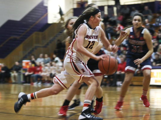 Rossview's Macy Rippy (#2) makes her way down the court