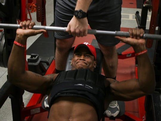 Austin Peay wide receiver Jared Beard bench presses