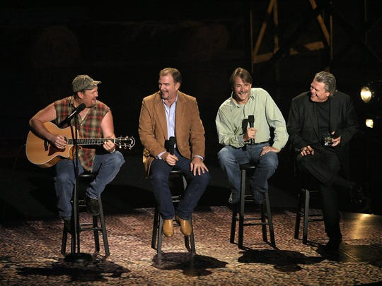 From left, Larry The Cable Guy, Bill Engvall, Jeff Foxworthy and Ron White from the Blue Collar Comedy Tour.