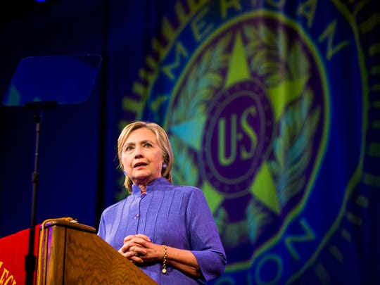 Democratic presidential candidate Hillary Clinton addresses the American Legion's national convention Wednesday at the Duke Energy Convention Center in Cincinnati.