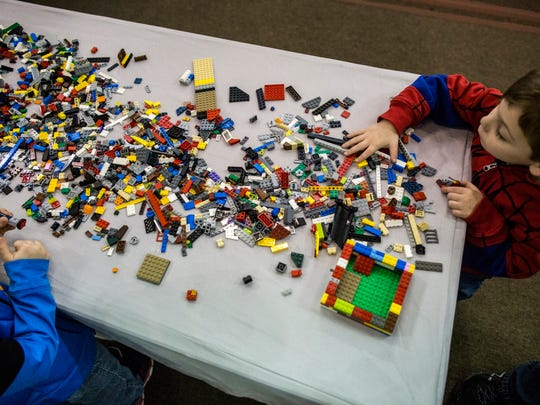Kids can build with LEGOS in Camp Brick.